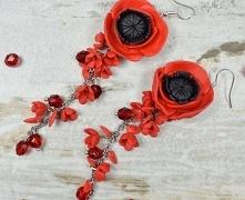 Długie, bardzo efektowne i eleganckie kolczyki kwiaty w czerwieni i dodatkiem...