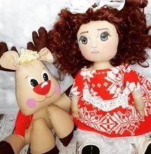 lalka łyżwiarka z reniferem