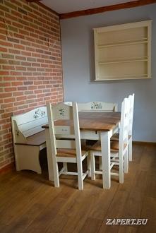 Drewniany stół do kuchni lub jadalni. Do kompletu - krzesła drewniane oraz narożne siedzisko.Meble wykonane w mojej stolarni w Olsztynie.
