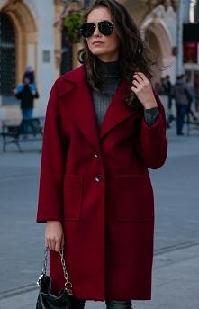Wełniany płaszcz bordowy al...