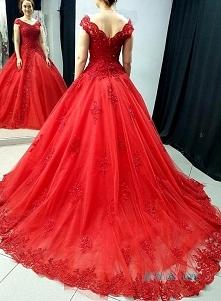 Piękna czerwona # suknia ba...