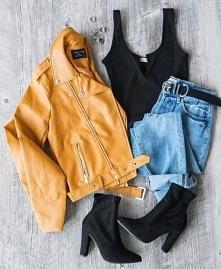 #moda #modadamska #styl #stylizacja #jesień #outfit #ootd #kurtka #ramoneska ...