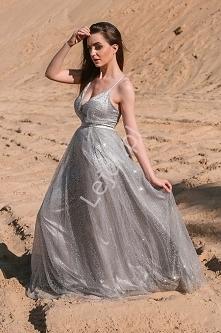 Długa suknia brokatowa w sr...