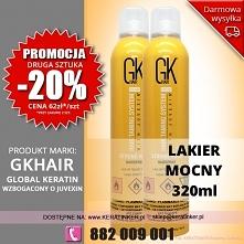 Promocja Global Keratin GKhair lakier do wlosow mocny 320ml strong hold hairs...