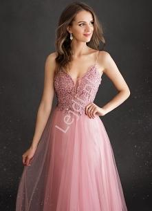 Tiulowa sukienka zdobiona k...