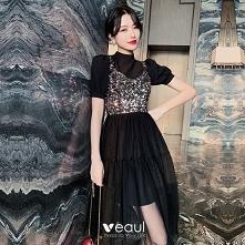 Moda Czarne Strona Sukienka...