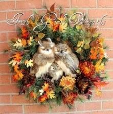 wianek jesienny z sowami