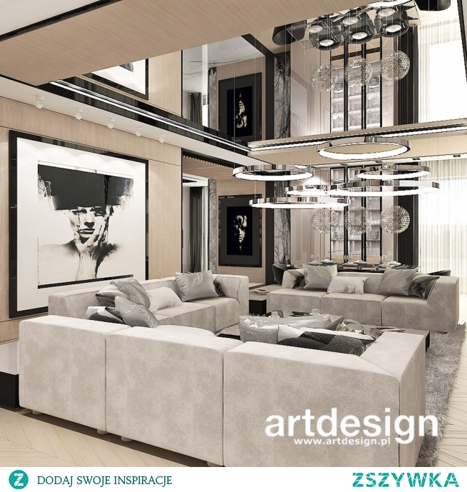 Nowoczesny salon w ciepłej kolorystyce, z dużą ilością jasnego drewna | POWER OF DESIGN | Wnętrza domu