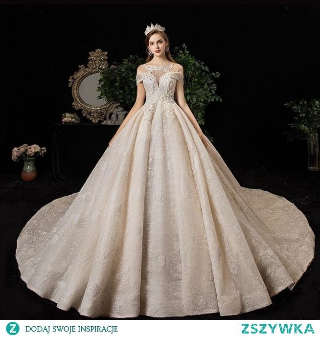 Wysokiej Klasy Szampan Suknie Ślubne 2020 Princessa Wycięciem Frezowanie Kutas Cekiny Rhinestone Z Koronki Kwiat Bez Rękawów Bez Pleców Trenem Katedra
