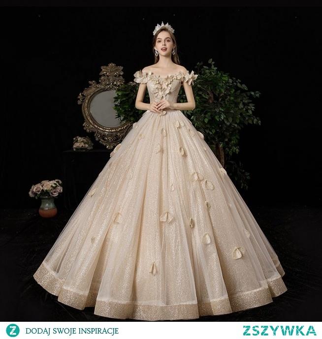 Luksusowe Szampan Suknie Ślubne 2020 Princessa Przy Ramieniu Aplikacje Perła Cekiny Bez Rękawów Bez Pleców Długie