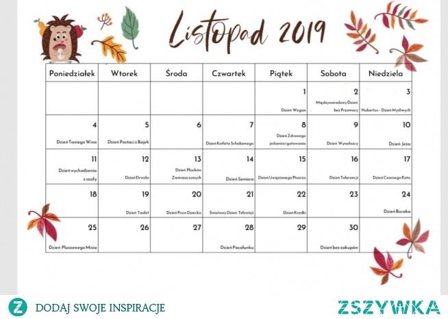 kalendarz listopad 2019 do pobrania i wydrukowania