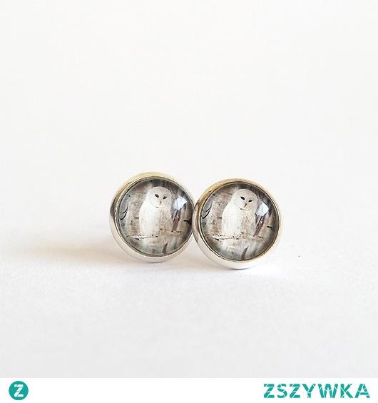 Kolczyki - Biała sowa - wkrętki, sztyfty, mini