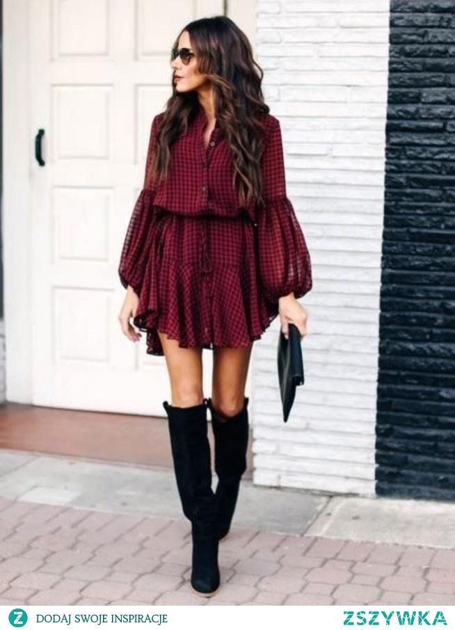 sukienka czerwona w kratę zawsze będzie na topie