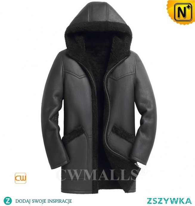 Detroit Custom Black Sheepskin Coat with Hood CW818535 | CWMALLS.COM