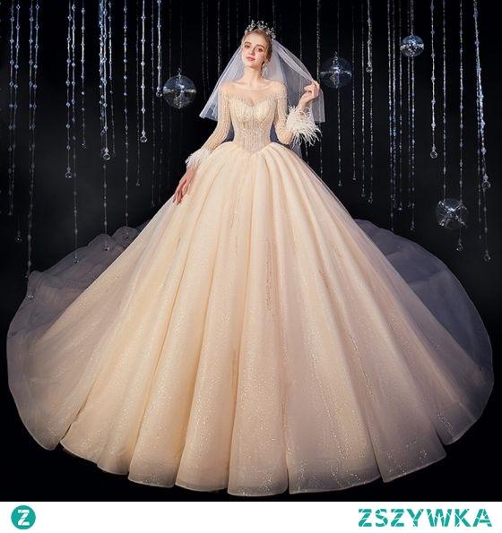 Luksusowe Szampan Suknie Ślubne 2020 Suknia Balowa Wycięciem Frezowanie Kryształ Cekinami Cekiny Długie Rękawy Bez Pleców Trenem Królewski