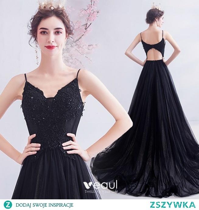 Piękne Czarne Sukienki Na Bal 2020 Princessa Spaghetti Pasy Frezowanie Z Koronki Kwiat Bez Rękawów Bez Pleców Trenem Sweep Sukienki Wizytowe