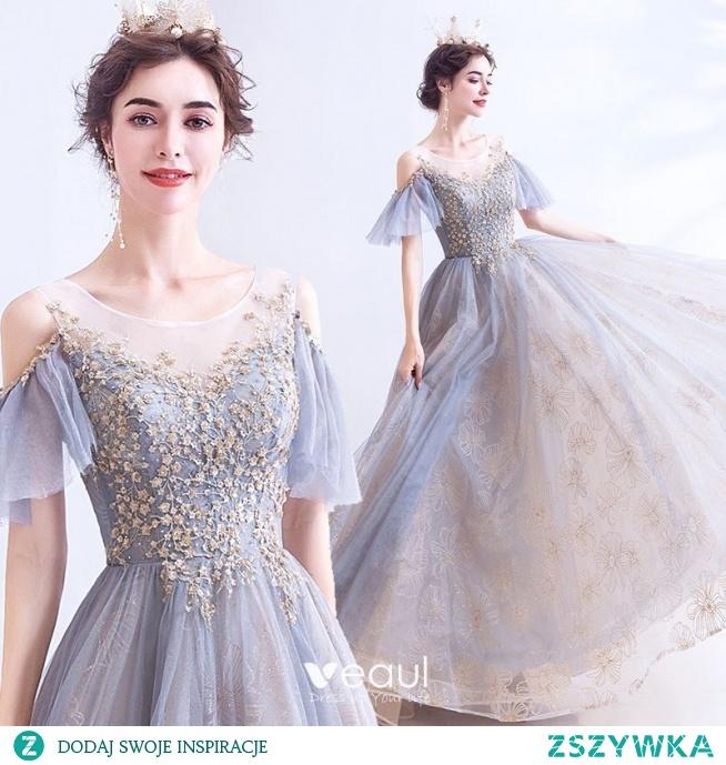 Eleganckie Szary Sukienki Na Bal 2020 Princessa Wycięciem Frezowanie Cekiny Kótkie Rękawy Bez Pleców Długie Sukienki Wizytowe