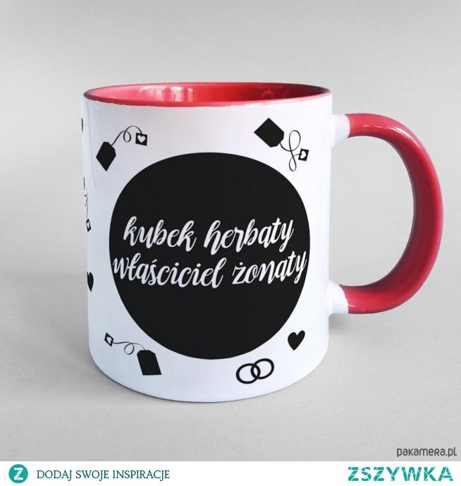 Kubek herbaty właściciel żonaty