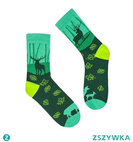 Kolorowe skarpetki Szwendam się JELIEŃ zielone