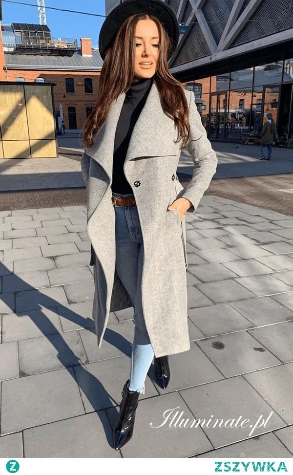 Szary, klasyczny płaszcz na jesień i zimę z kolekcji illuminate.pl
