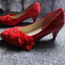 Piękne Czerwone Niski Obcas...