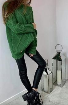 Ciepły sweter,wełna,piękny odcień zieleni....Kliknij w zdjęcie by przejść do ...