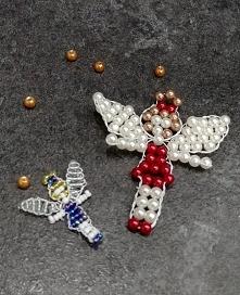 Aniołek z koralików na choinkę