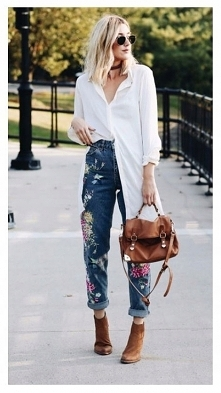 Jeansy z haftem - kochamy! ...