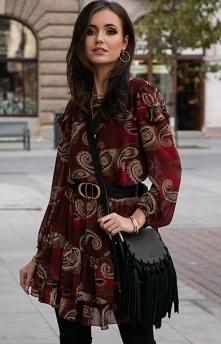 Roco Szyfonowa sukienka wzo...