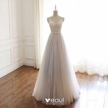Luksusowe Beżowe Sukienki W...