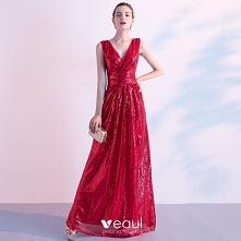 Błyszczące Czerwone Sukienk...