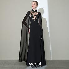 Chiński Styl Czarne Sukienk...