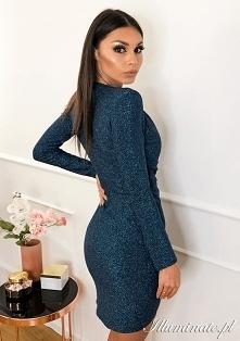 Niebieska sukienka z wiskoz...