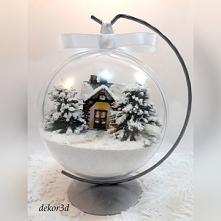 Bombka 3d  domkiem w zimowy...