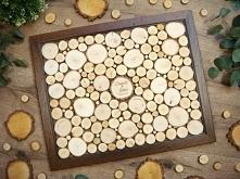 wyjątkowa oryginalna księga gości z plastrów drewna brzozowego ok. 130 podpis...