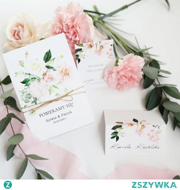 zaproszenia ślubne delikatne kwiaty przewiązane złotym sznurkiem, Zaproszenia Navi