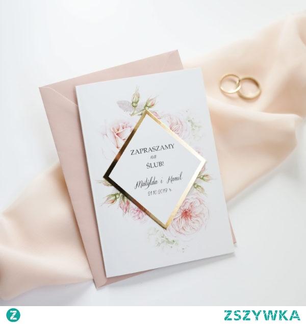 zaproszenia ślubne delikatne różowe róże i złoty romb, zaproszenia navi