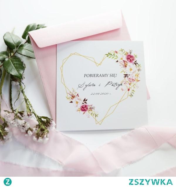 Geometryczne zaproszenia, złote serce i kwiaty w kolorze łosoś, brzoskwinia i pudrowy róż, zaproszenia navi