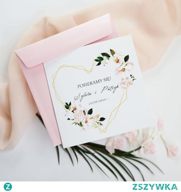 Geometric wedding invitations, gold heart and flowers in salmon, peach and powdered pink, zaproszenia geometryczne, złote serce, zaproszenia navi