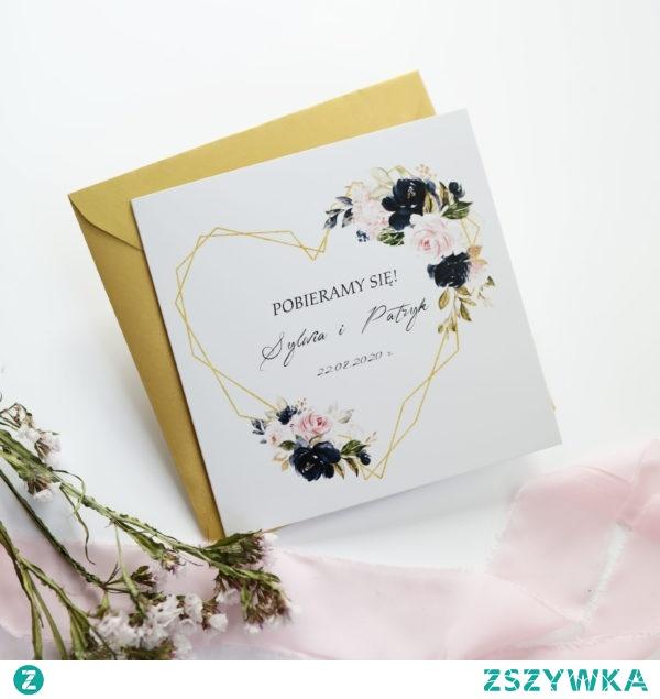 Geometric wedding invitations, gold heart and flowers in salmon, peach, powder pink, blue, zaproszenia geometryczne, złote serce, zaproszenia navi