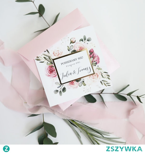 Zaproszenia na ślub z kwiatami w delikatnych kolorach lata i złotym akcentem, Zaproszenia NAVI