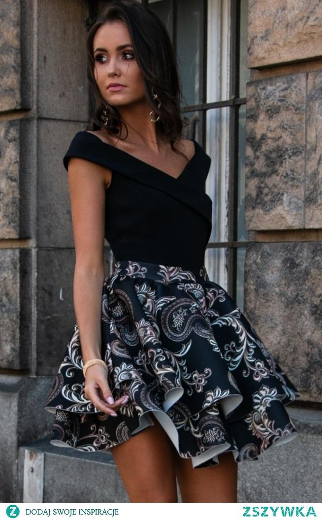 Roco Wieczorowa sukienka z podwójną falbaną 253/P01