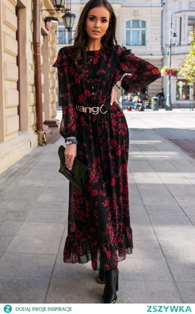 Roco Wzorzysta sukienka maxi 253/D82