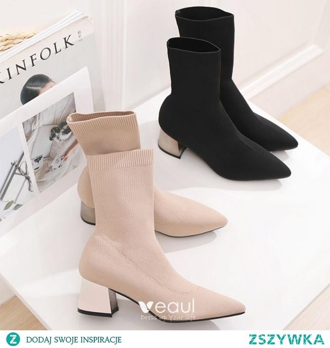 Elegancka Czarne Przypadkowy Warkocz Buty Damskie 2020 5 cm Grubym Obcasie Szpiczaste Boots