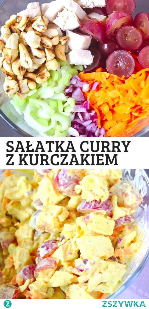 Zdrowa sałatka curry z kurczakiem.