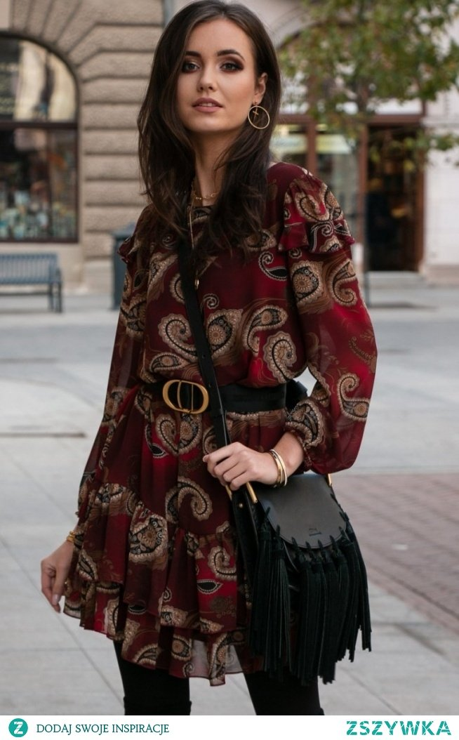Roco Szyfonowa sukienka wzorzysta 259/D92
