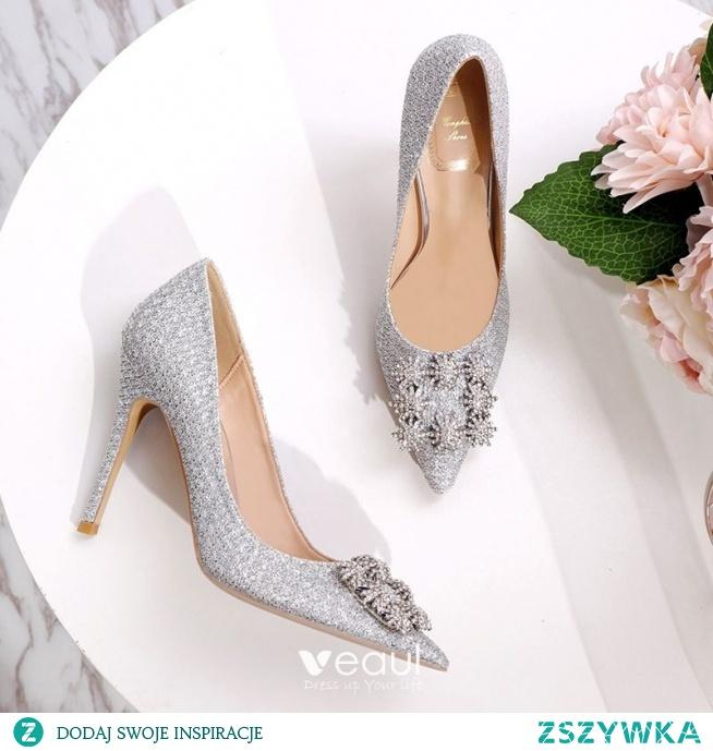 Uroczy Srebrny Rhinestone Buty Ślubne 2020 Cekiny 10 cm Szpilki Szpiczaste Ślub Czółenka