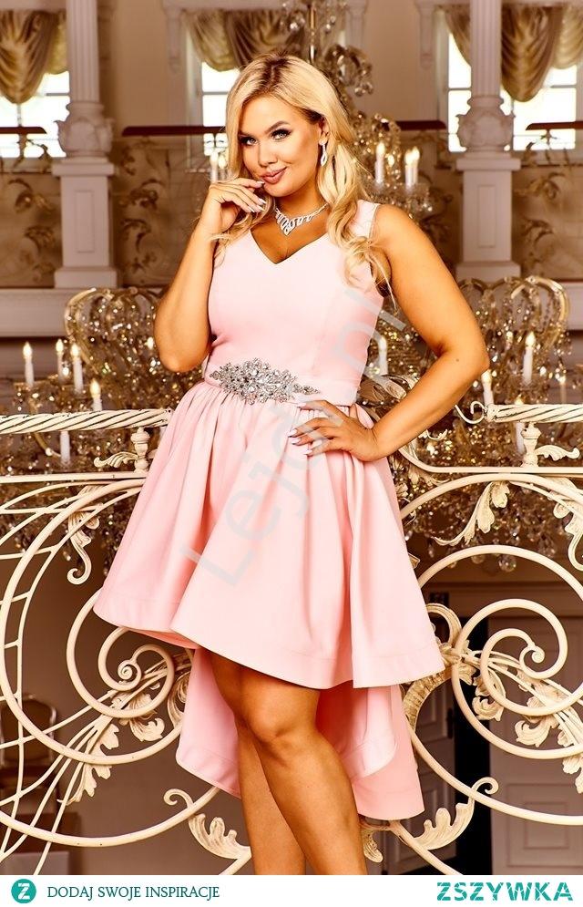 Krótka sukienka z wydłużonym tyłem. Różowa sukienka na studniówkę, sukienka na wesele, sukienka plus size, wieczorowa sukienka lejdi.pl