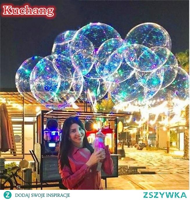 10 zestaw/partia 18 24 36 cal świecące led balon 3M balon powietrzny led łańcuchy świetlne Bubble balony z helem Wedding Party Decoration w Balony i akcesoria od Dom i ogród na AliExpress