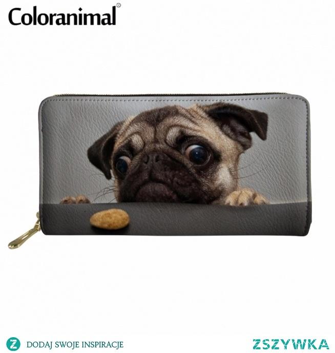 Coloranimal 2018 New Arrival kobiety mężczyźni na co dzień karty kredytowej PU projekt długo portfel Kawaii zwierzęta Pug pies druku panie modna torebka w Portfele od Bagaże i torby na AliExpress